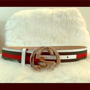 f94d4ad76e5 Gucci Accessories - Gucci interlocking G belt stripes white green red.